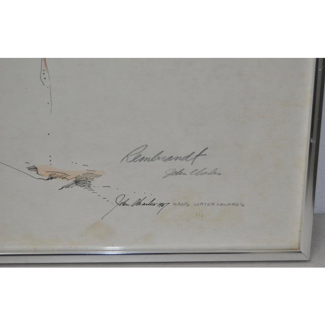 Rembrandt Fantasy Lithograph w/ Hand Watercolors c.1967 For Sale - Image 4 of 5