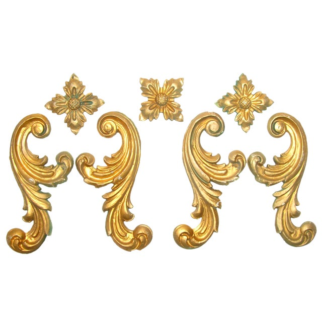 Vintage Italian Gilt Plaster Elements, S/7 For Sale