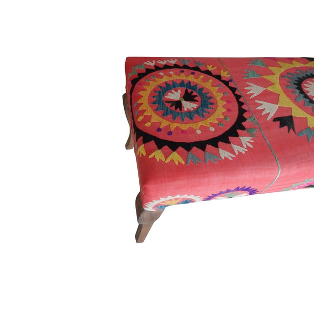 Red Set of 5 Suzani Covered Bench Handmade Ottoman From Anatolian With 4 Pieces Footstool For Sale - Image 8 of 13