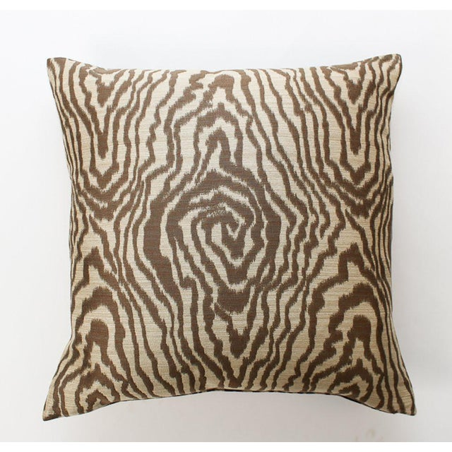 Sateen Faux Bois Tiger Pillows, a Pair For Sale - Image 4 of 6