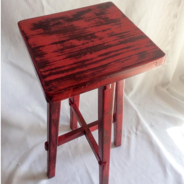 Hand Made Distressed Red Square Bar Stool - Image 9 of 9