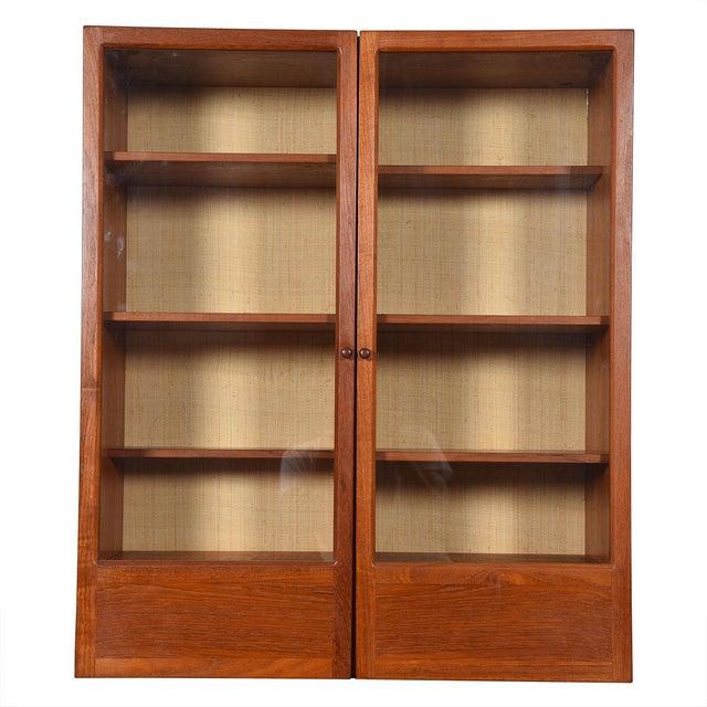 Burnt Umber Danish Modern Teak Hanging Display Cabinet With Glass Doors For Sale - Image 8 of 8