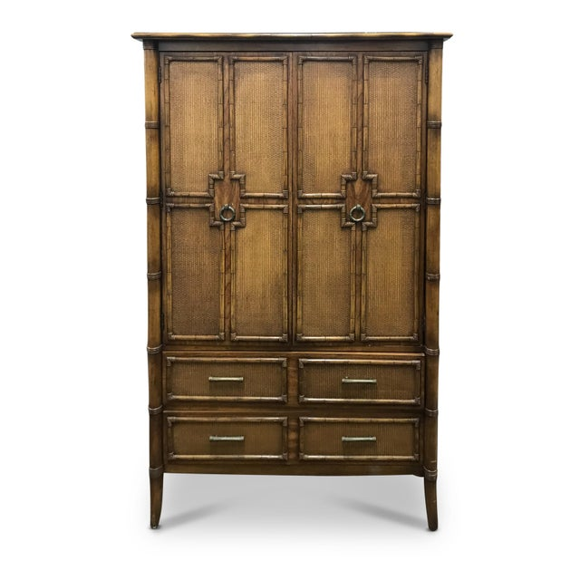 Brown Vintage Faux Bamboo and Rattan Armoire For Sale - Image 8 of 8