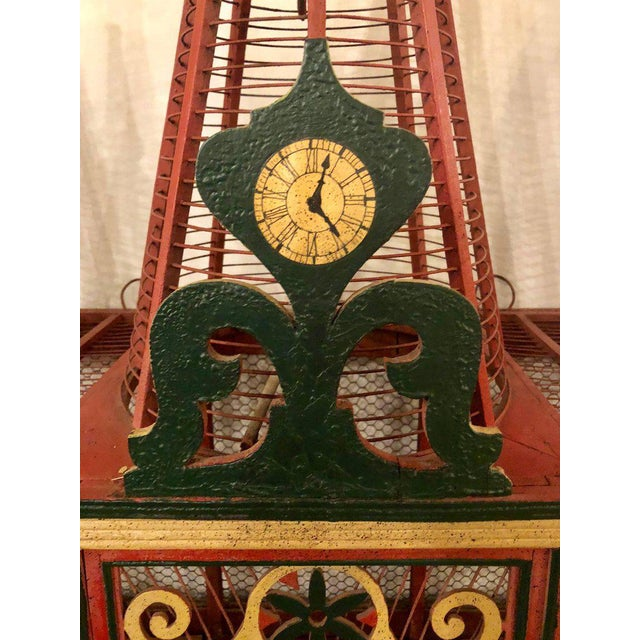 Americana Folk Art Circus Tent Style Original Painted Bird Cage For Sale In New York - Image 6 of 13