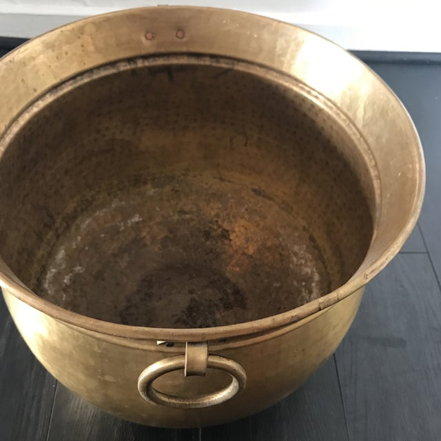 Vintage Solid Brass Planter For Sale In Los Angeles - Image 6 of 8