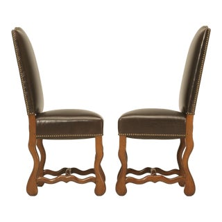 Vintage French Leather Side Chairs - A Pair For Sale