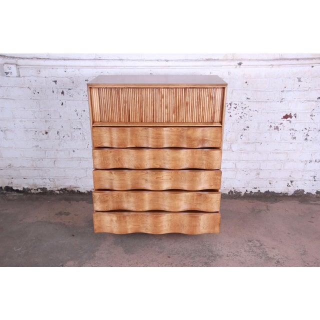 Edmond J. Spence Edmond Spence Wave Front Highboy Dresser For Sale - Image 4 of 13