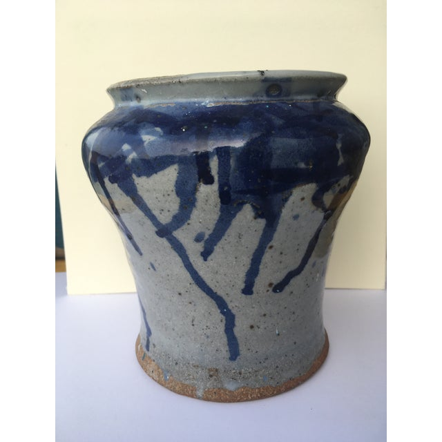 Antique Chinese Pottery Blue Splatter Pattern Glaze Brush Jar For Sale - Image 9 of 10