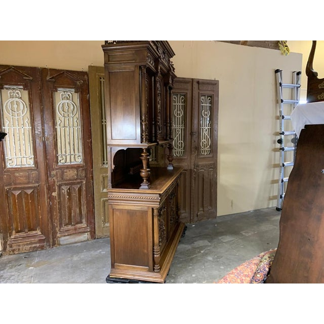 19th Century French Gothic Renaissance Carved Walnut Double Buffet / Cupboard For Sale - Image 4 of 12