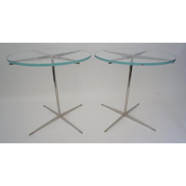 Modern Vintage Drinks or Side Tables Glass on Polished Steel Pedestal - a Pair For Sale - Image 3 of 11