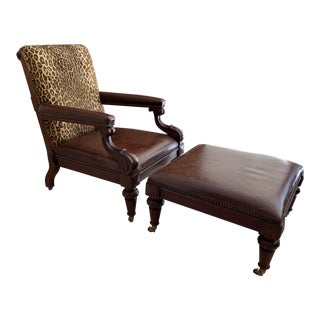 1990s Vintage Ralph Lauren Leather Chair and Ottoman For Sale