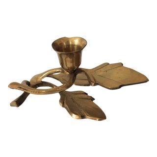 Brass Leaf Candle Holder For Sale