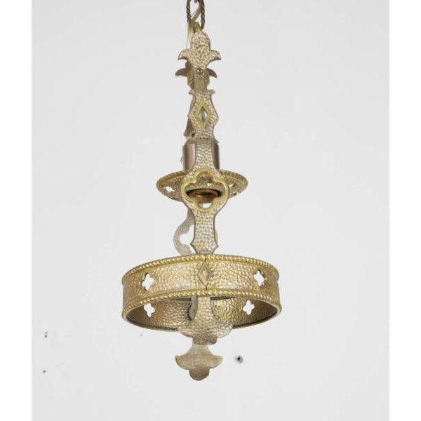 Metal Small Brass and Nickel Hall Fixture For Sale - Image 7 of 9