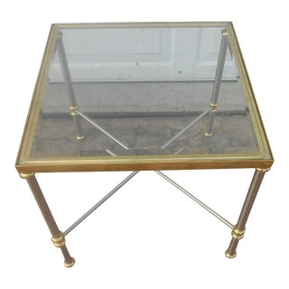 LaBarge Chrome & Brass Side Table For Sale