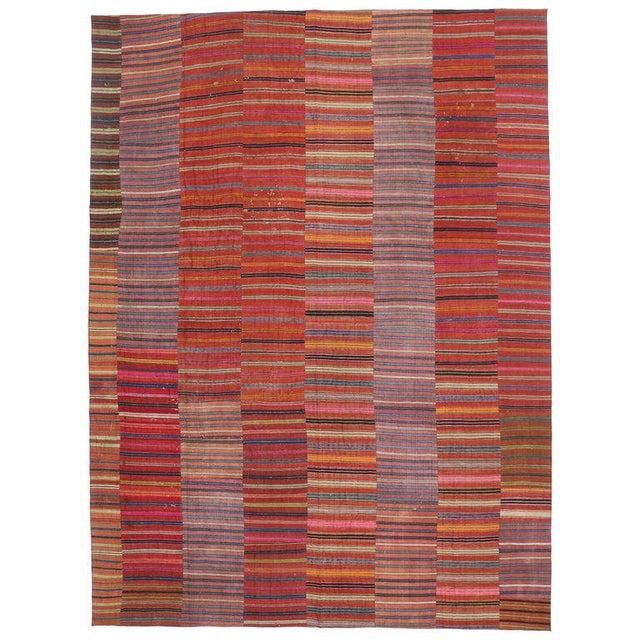 Vintage Turkish Kilim Flat-Weave Striped Rug - 9′7″ × 12′11″ For Sale In Dallas - Image 6 of 6
