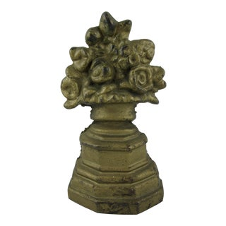 Hubley 1930s Cast Iron Petite Gilded Floral Urn Doorstop For Sale