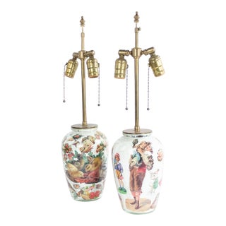 English Victorian Decoupage Table Lamps For Sale