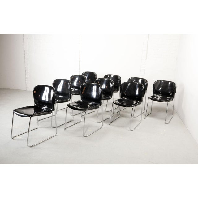 Set of Ten Mid-Century Design Black Stackable Dining Chairs by Gerd Lange for Drabert, Germany, 1980s For Sale - Image 9 of 10