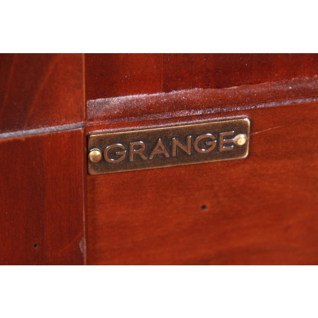 French Provincial Solid Cherry Breakfront Bookcase or Bar Cabinet by Grange For Sale - Image 11 of 13