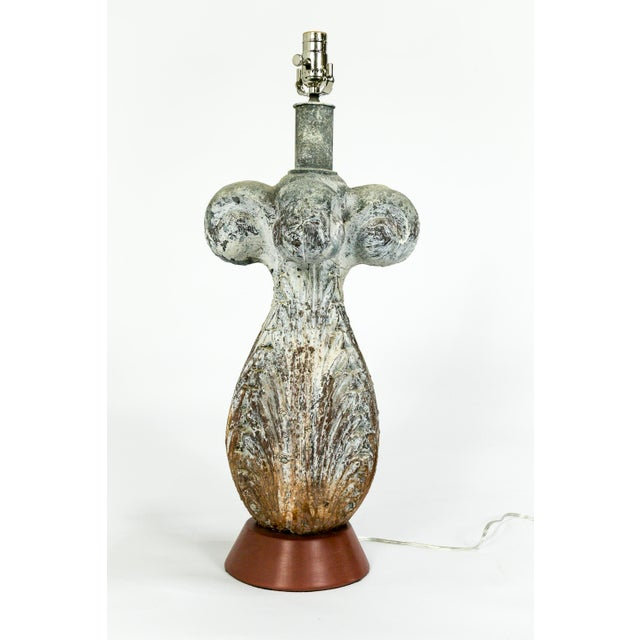19th Century Balustrade Architectural Element Lamp With Unique Patina For Sale - Image 4 of 10