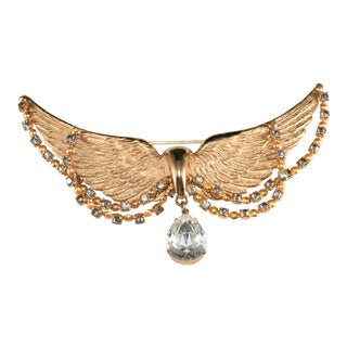 Napier Brooch Gold Plated Angel Wings Rhinestone Swags For Sale