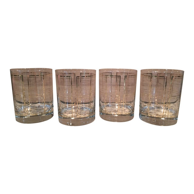 Georges Briard Gold Windowpane Plaid Bar Glasses - Set of 4 - Image 1 of 3