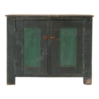 Primitive Painted Green Cabinet