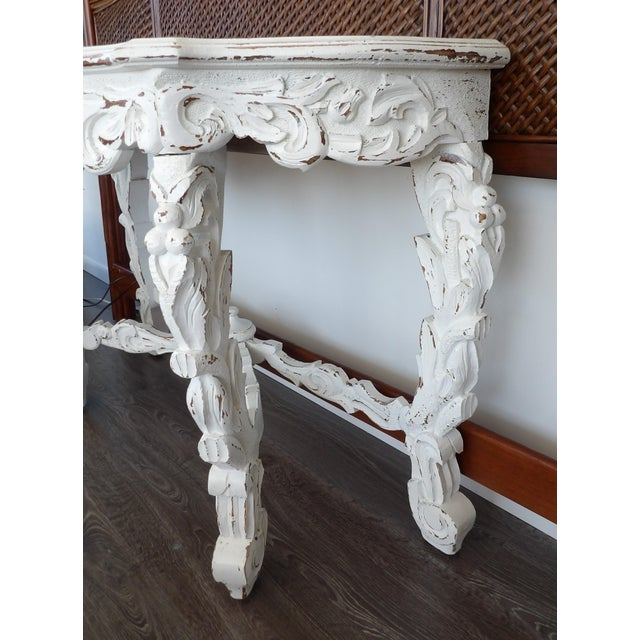 Late 20th Century Hand Carved White Distressed Finish Console Table For Sale In West Palm - Image 6 of 7