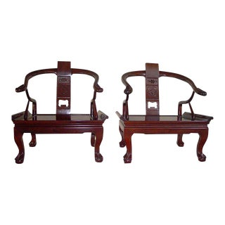 Chinese Asian Rosewood Lacquered Horse Shoe Pair of Cushioned Chairs Ming Style