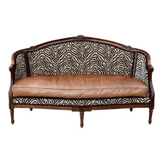 Zebra Velvet Louis XV French Style Sofa For Sale