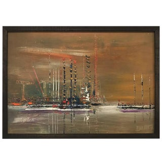 French Pier Scene Oil Painting For Sale