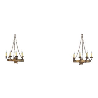 French Vintage Gilt Metal Four Light Demi-Lune Wall Sconces - a Pair For Sale