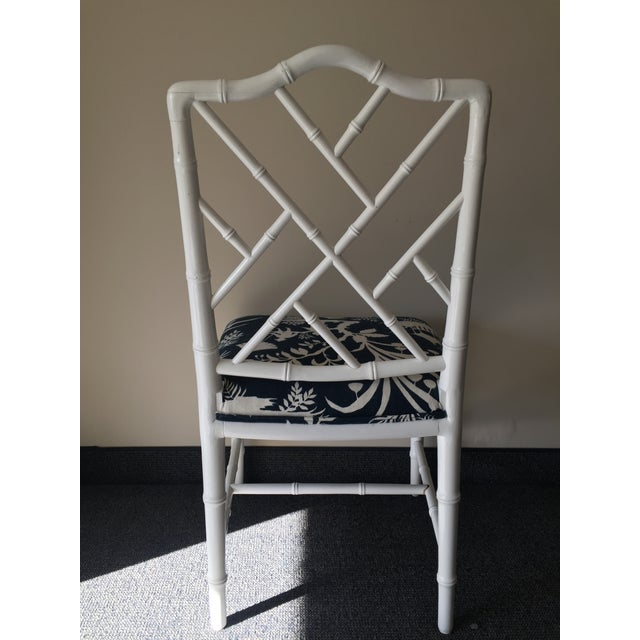 Chippendale White Bamboo Chairs - Set of 4 - Image 5 of 8
