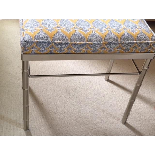 2010s Vintage Petite Raoul Textile Fabric Upholstered Chrome Bench For Sale - Image 5 of 6