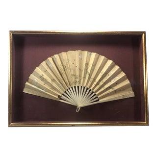 Framed Early 1900s European Hand-Painted Folding Fan For Sale