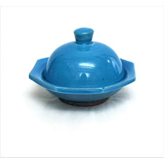 Hand Painted Blue Small Ceramic Serving Dish & Lid Preview
