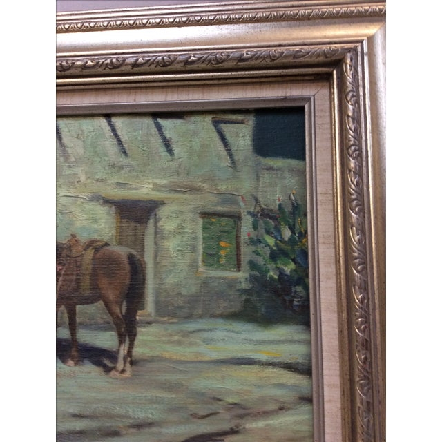 """Gray """"Cowboy Bringing Flowers"""" Vintage Oil Painting For Sale - Image 8 of 11"""