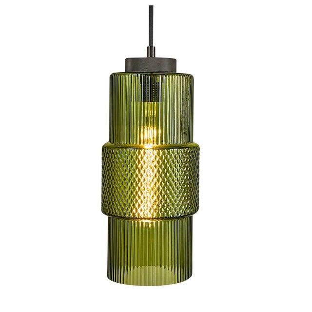 Blown Olive Glass Laguna Pendant Light For Sale - Image 4 of 4