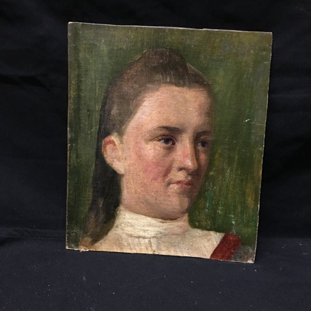 19th Century Young Girl Oil Painting - Image 2 of 5