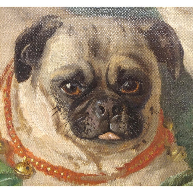 Charles Nogaro - Portrait of Two Pugs-19th Century French Oil Painting For Sale In Los Angeles - Image 6 of 10