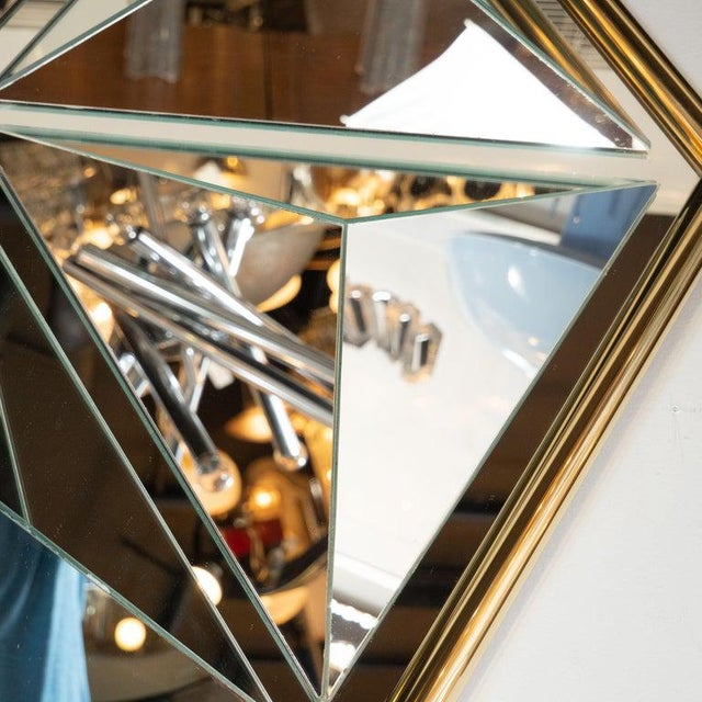 Mid-Century Modern Sculptural Hexagonal Brass Mirror With Raised Pyramidal Forms For Sale In New York - Image 6 of 7