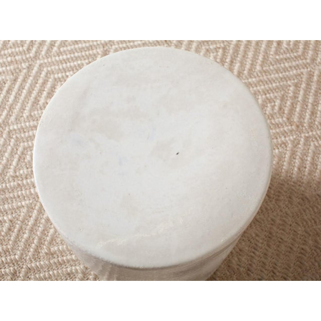 Contemporary Modern White Ceramic Stool For Sale - Image 3 of 5