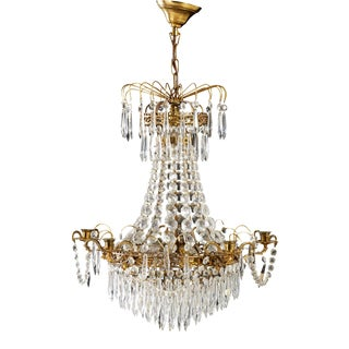 1960s Gustavian Brass and Crystal Prisms Chandelier For Sale
