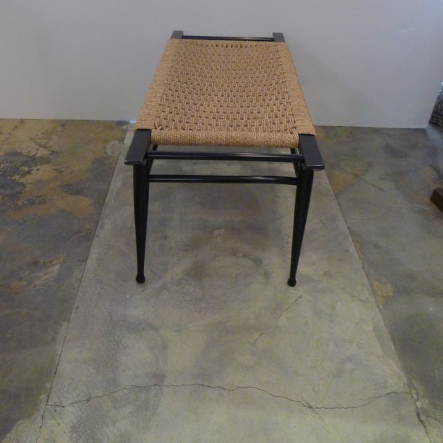1960s Mid-Century Modern Danish Woven Rush Bench For Sale - Image 5 of 6