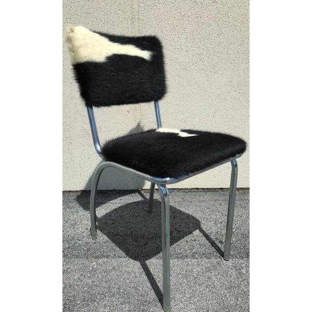 Animal Skin Cowhide Upholstered Chrome Chairs - Set of 4 For Sale - Image 7 of 11