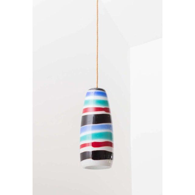 Beautiful striped glass pendant by Massimo Vignelli for Venini