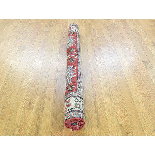 Hand-Knotted Pure Wool Geometric Design Red Kazak Rug- 5′ × 6′3″ For Sale - Image 11 of 12