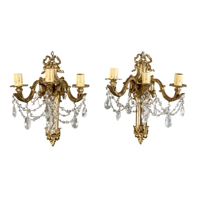 French Brass & Crystal Acanthus Rococo Style Three Arm Sconces - Pair For Sale