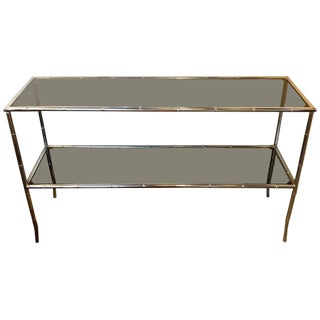 Faux Bamboo Chrome Two-Tier Console Table With Smoke Glass Tops Manner of Jansen For Sale