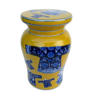 Ceramic Porcelain Glazed Chinoiserie Yellow & Blue Kimono Indoor/Outdoor Garden Side Table For Sale
